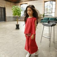 Wholesale Track Pants Children - New Collectiong Kids Girl Sleeveless Top + Loose Pant 2Pcs Fashion Clothing Set Good Quality Size90-150CM Children Tracking Outfits