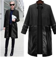 Wholesale Wollen Coats - Mid-Long Length Brand Women Wollen Coat 2017 New Patchwork Zipper Slim Fashion EU Style Blend Wool Coats forFemale Autumn Spring