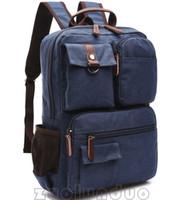 kore kanvasının rahat sırt çantası toptan satış-Moda Sırt Çantaları Tuval erkek açık dizüstü sırt çantası Erkek çanta cepler Ile 2017 yeni stil Kore moda rahat