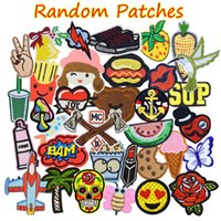 Wholesale Kinder Sticker - 20PCS Random Patches for Clothing Iron on Transfer Applique Patch for Bags Jeans DIY Sew on All Kinds Embroidery Stickers Free Shipping