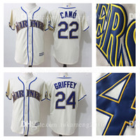 Wholesale Authentic Shorts - Seattle Mariners 22 Robinson Cano 24 Ken Griffey Jr. Baseball Jerseys 50 anniversary MLB Stitched Beige Mitchell & Ness Authentic Jersey
