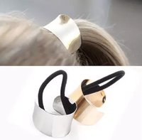 Wholesale Charm Ponytail - Hot Sale Metal Charm Elastic Hairbands Silver Metal Hair Cuff Stretch Ponytail Elastic Rope Hair Band Tie Holder for Women