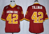 Wholesale arizona states - 1997 Rose Bowl Arizona State Sun Devis (ASU) Pat Tillman 42 College Football Jerseys Maroon Stitched Shirts Mens