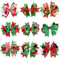Wholesale Hairclip Flowers - christmas hair bows clips accessories for children girls fashion kids babys cute flower Bowknot Hairpin hairclip hairbow for xmas KKA2643