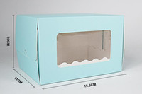 Wholesale Transparent Pvc Roll - 10pcs pack: 15.5x11x10cm Blue PVC transparent window egg roll Cup Cake box kraft cardboard boxes paper box