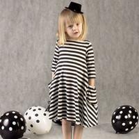 Wholesale Children Christmas Jumper Cotton - 2017 Wholesale Girls Clothes Brand Children Dresses Striped Baby Girls Dress Blouse Kids Jumpers Cotton Fashion Summer princess