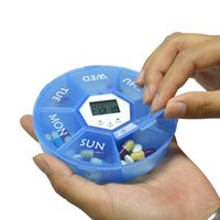 Wholesale Digital Day Clock - Weekly Digital Round 7 Days Pill Box Case Timer Alarm Clock Reminder Medicine