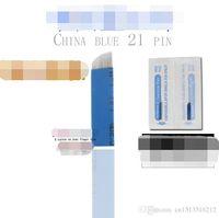 Wholesale Sharps Tattoo - 100 pcs Chinese Blue streaking Eyebrow blade 21 Needle Good use of fine Microblading Eyebrow Needle floating sharp piece Tattoo Kits