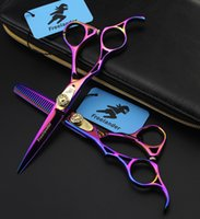 Wholesale Japanese Shear Scissors - 5.5 inch Left hand Hair Scissors Sets tesoura hairdressing styling tools salon cutting thinning straight japanese steel shears