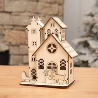 Wholesale House Led Light Decor - Christmas Tree Decorations Led Light Chalet Wood house Christmas Decor For Home Xmas Gift For Kids Decorative Navidad Natal