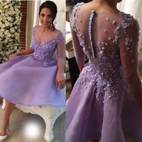 Wholesale 3d art sweet online - Vintage Lavender Short Homecoming Dresses D Floral Appliqued Sweet Holiday Dress Sleeve Cheap Prom Evening Gowns