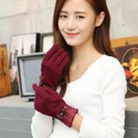 Wholesale Black Ladies Winter Gloves - Lace Bow Women Winter Gloves Female Ladies Girls Mittens Sheep Wool Glove Mitten