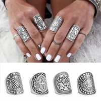 Wholesale Jewlery Silver Rings - Fashion Alloy Cool Vintage Retro Silver Plated Elephant Joint Knuckle Costume Snap Charm Jewlery Trend Nail Ring Set 4 Styles C47L