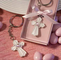 Wholesale Key Chain Favor Gift - 100pcs Pink Cross Design Favor Saver Key Chain Favors party favor wedding favor and gift DHL Fedex Free Shipping