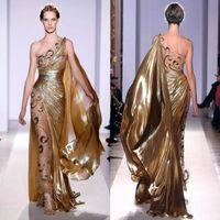 золотые платья zuhair murad оптовых-Золотые вечерние платья Zuhair Murad Haute Couture Аппликации Длинное платье русалки на одно плечо с аппликациями