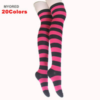 Wholesale Thigh Socks For Women - DHL New Sexy Women Girl zebra Stripe Cotton polyester Thigh High Stocking Over Knee Stockings hosiery For Dating Cosplay party socks 232w