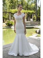 Wholesale Modest Wedding Dresses Prices - Vestido De Noiva Mermaid Satin Modest Wedding Dresses 2017 With Cap Sleeves Informal Reception Wedding Dress New Arrival Cheap Price Sale