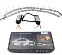 Wholesale Led Strip Light Knight Rider - 2x Flexible White Amber Switchback LED Knight Rider Strip Light for Headlight Sequential Flasher DRL Turn Signal
