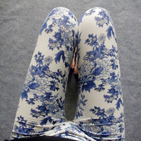 Wholesale Natural Style Landscaping - Wholesale- 2016 NEW national Ethnic style Chinese landscape paintings flowers trousers Porcelain printed High elasticity Graffiti leggings