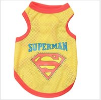 Wholesale Dogs Wearing Cute Costumes - Casual New 2017 Cute Pet Dog Cat Puppy Clothes Costume Superman Mesh Vest Apparel Dogs Shirt Coat Breathable Sports Wear Black Yellow