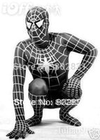 Lycra Zentai Spiderman Eroe Costume Catsuit / Nero