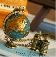Wholesale telescope jewelry for sale - Hip Hop Jewelry Women Fashion Vintage Telescope Travel Retro Mini Global Globe Sweater Chain Pendant Necklace for Lady Xmas Jewelry Gift