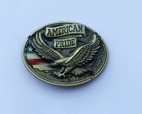 Wholesale Car Flag Usa - American Pride Eagle USA Flag Belt Buckle SW-BY559 suitable for 4cm wideth snap on belt with continous stock