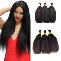 Wholesale wholesale braiding hair free shipping online - Malaysian Human Hair Bulk Natural Color Bundles Kinky Straight Bulk Hair Extensions inch for Braiding FDSHINE
