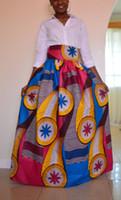 Wholesale High Waist Gowns - 2017 African Women Boho Dashiki Colorful Dresses Cocktail Clubwear high waist Pleated Skirt National characteristic Maxi Dress