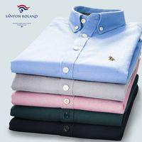 Wholesale Purple Check Shirt - 2017 Designers Brand 100% Cotton Quality Striped Plaids Shirt Men Spring\Autumn Casual Shirts Checked Oxford Dress Shirt Camisa Masculina