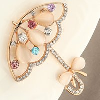 Wholesale Rhinestone Umbrellas - Wholesale- New 2017 Opal And Rhinestone Umbrella Brooches For Women Cute Korea Style Brooch Pin Lead Free Gold Plated Accessories