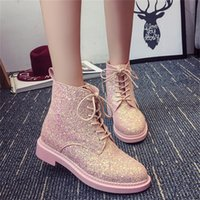Wholesale High Fashion Female Boots - Wholesale-2016 new winter influx of European and American sequined lace PU low cylinder boots Martin boots Korean female fashion round