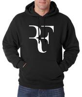 Wholesale New Unique Design Neck - Wholesale-unique design RF men hoodies autumn winter new Roger Federer men sweatshirts hooded fashion casual loose men's sportswear