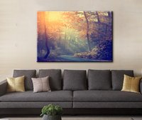Wholesale Canvas Oil Painting Landscape Forest - Wall Art Picture Forest Road Sunset Spray Painting on Canvas Unframed Landscape Print Wholesale Living Room &Home Decoration (3 sizes