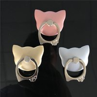 Wholesale Bow Ties Rings - universal finger ring phone stand holder with mini cat pattern, 360° 180°, Zinc alloy ring washable adhesive tape, bow tie ring good quality