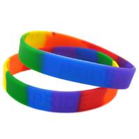 Wholesale coloured wristbands - Wholesale Drop Shipping 100PCS Lot Pride Rainbow Colour Silicone Bracelet Embossed Logo Wristband Promotion Gift Adult Size