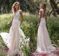 Wholesale Illusion Neck Line - Limor Rosen 2017 Country Wedding Dresses Illusion Bodice Jewel Cap Sleeve Appliques Court Train Vintage Garden Beach Boho Bridal Gowns