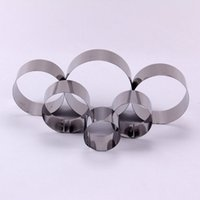 Wholesale Shaped Cake Tins - Wholesale- AMW 6pcs setStainless Steel Round Shape Cake Baking Tin Mousse Ring Cake Mold