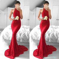 Wholesale Sexy One Pieces Party Wear - Amercian Celebrity Wear Mermaid Stylish Prom Dresses Lace Halter Neck Zipper Back Evening Party Dresses High Neck Sweep Train Evening Gown