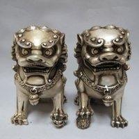 Wholesale foo dog statue pair resale online - Chinese Tibet silver carved guard Foo Dogs Lion pair statues