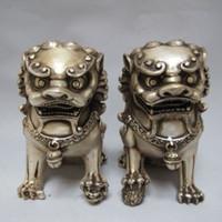 китайская собака лев статуя оптовых-Китайский Тибет серебряный резной охранник Foo собаки Лев пара статуи