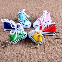 Wholesale Stainless Steel Sneaker Key Chain - Best Selling The lowest price 3D Novelty Canvas Sneaker Tennis Shoe Keychain Key Chain Party Jewelry Hot Sale