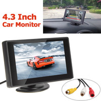Wholesale Car Dvd Monitors - 4.3 Inch TFT LCD Car Parking Rear View Monitor rearview camara night vision 2 Video Input for Reverse Camera DVD CMO_363
