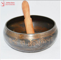 Wholesale Wood Carving China - New 14.5cm Yoga Tibetan Singing Bowl Himalayan Hand Hammered Chakra Meditation Religion Belief Home Decoration With Hand Stick Metal Crafts