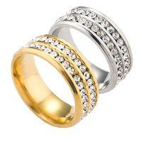 Wholesale White Zircon Ring For Men - Titanium 2 Round Zircon Crystal Ring Finger Rings for Women Men Wedding Ring Jewelry Luxury Jewelry 080170