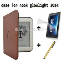 Wholesale Nook Leather - Wholesale- PU leather Cover Sleeve Case for nook simple touch 2 and nook 3 Barnes & Noble nook glowlight+screen protector free shipping