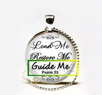 Wholesale Thanksgiving Led Necklace - Wholesale Handmade Bible Verse Jewelry,Psalm 23 Lead Me Restore Me Guide Necklace,Psalm 23 quoto Necklace