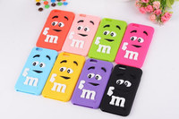 Soft Silicon Back Cover 3D Cartoon MM Chocolat Beans Colorful Rainbow Case Shell pour Iphone 8 7 6s plus i8 i7 S7 J3