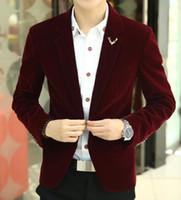 Wholesale Velvet Blazer Sale - Wholesale- Free shipping 2016 Mens brand blazer jacket new arrival hot sale promotion Male clothing factory blazer masculino red velvet