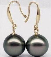 14k pendientes de perlas negras al por mayor-10-11mm PENDIENTE DE PERLA NEGRA TAHITIANA 14K GOLD CLASP
